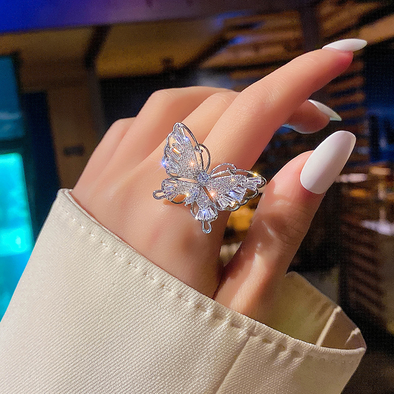 Korean New Design Fashion Jewelry Luxury Copper Inlaid Zircon Ring Exaggerated Butterfly Cocktail Opening Ring for women