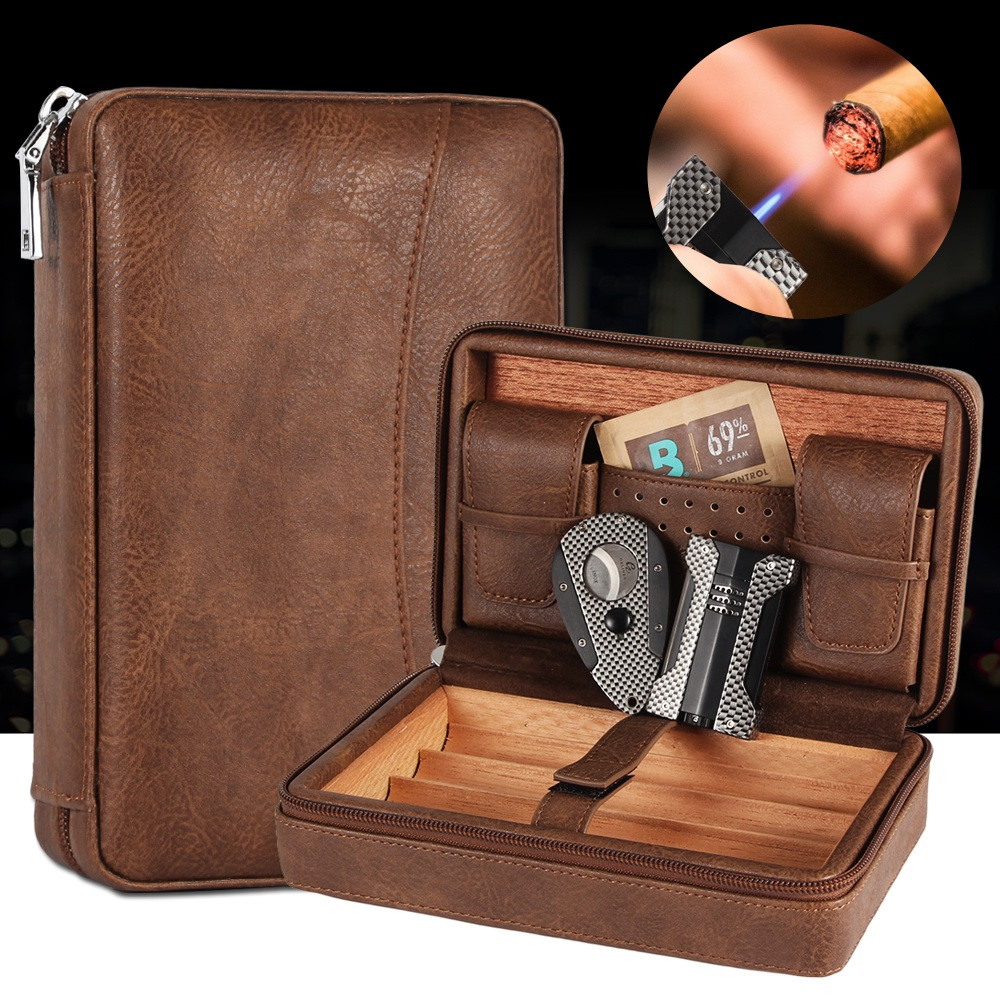 GALINER Portable Cigar Humidor Box Travel Leather Cigars Case Cedar Wood Cigars Set W/ Lighter Cigar Cutter Holder <font><b>Boveda</b></font> Bag image