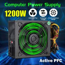 1200 Вт PC источник питания для компьютерного модуля PC PSU PFC 24Pin SATA 6Pin 4Pin 14 см тихий светодиодный вентилятор 110 ~ 220 В