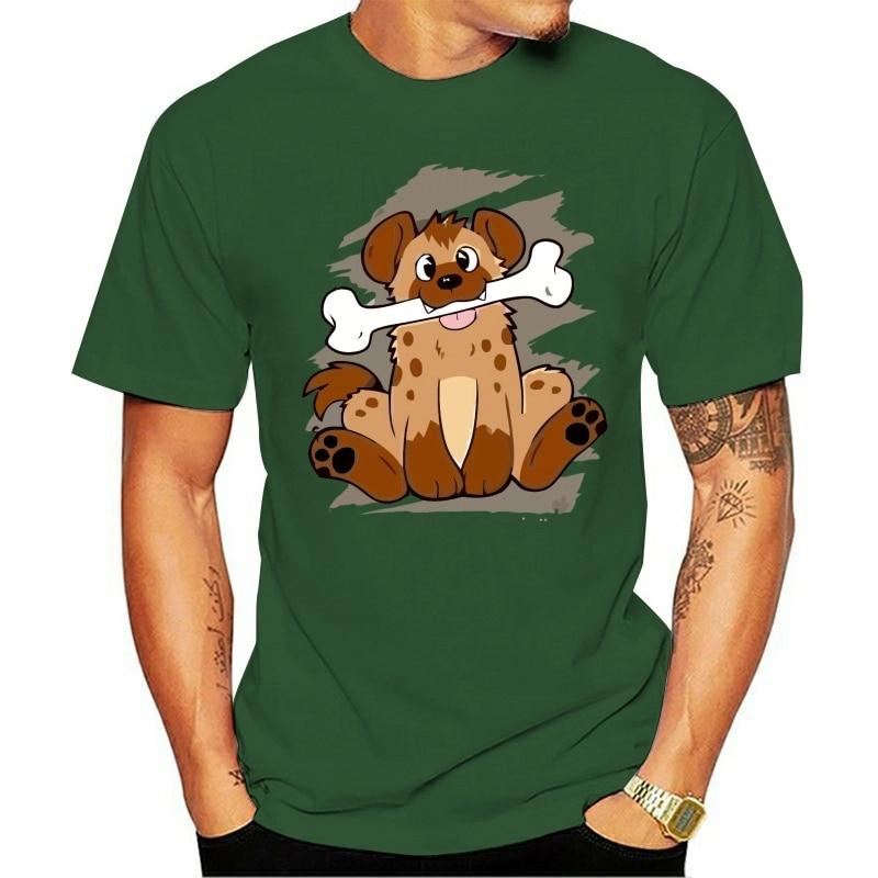 2021 T-shirt 100% cotton Engraçado  homem hiena cão com osso  manga curta crewneck algodão adulto roupas