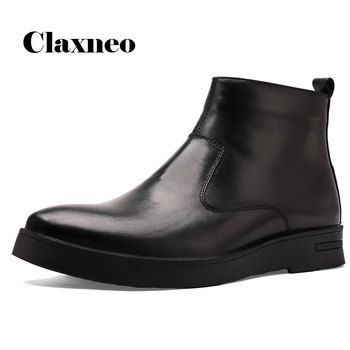 CLAXNEO Man Leather Boots Fashion Zip Boot Male Leather Shoes Genuine Leather Dress Shoe clax Winter Shoes Plush Fur Big Size