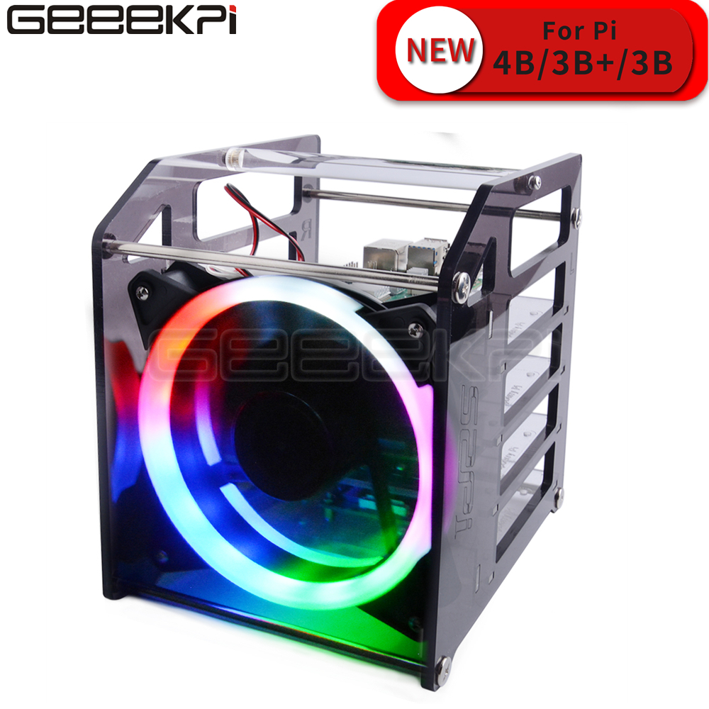 GeeekPi Rack Tower 4 Layer Acrylic Cluster Case Large Cooling Fan LED RGB Light For Raspberry Pi 4 B / 3 B + / 3 B / Jetson Nano