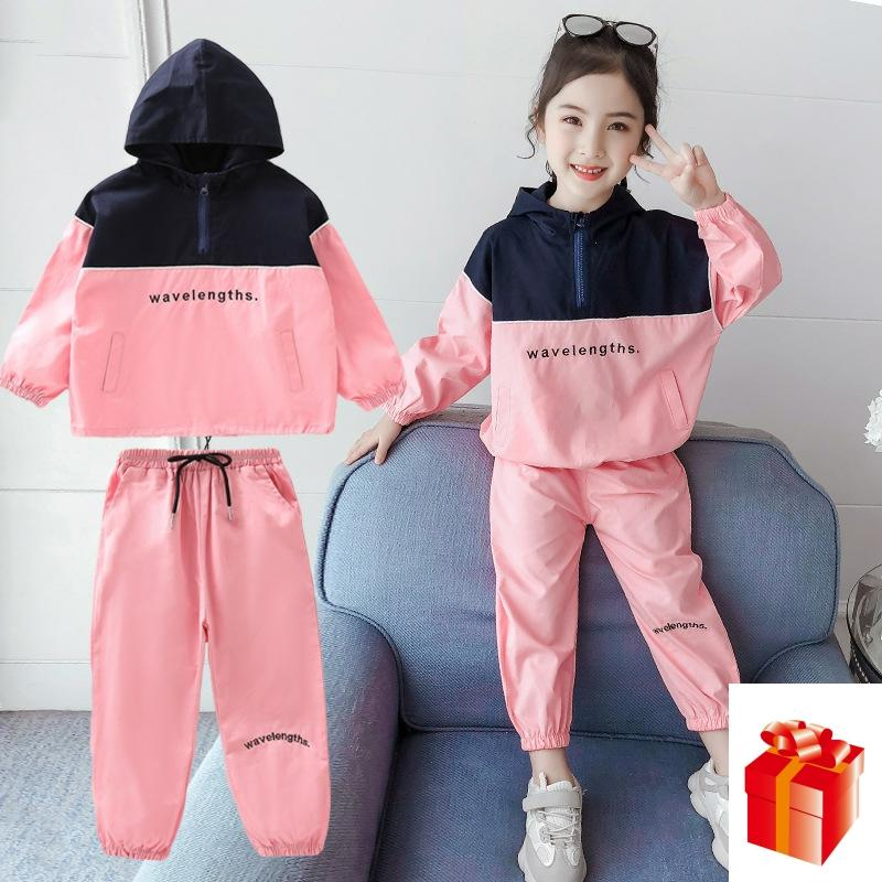 Children Suit Girls Fashion Clothes Suit Spring Autumn Girls Casual Sports Sets Thin Long-sleeve Blouses + Pants Suit 3 -12 Y