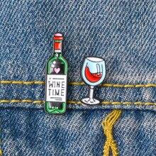 Мода европейский американский мультфильм красный вино вино бокал дизайн брошь девочка рюкзак одежда булавка изысканный значок мальчик ювелирные изделия подарок