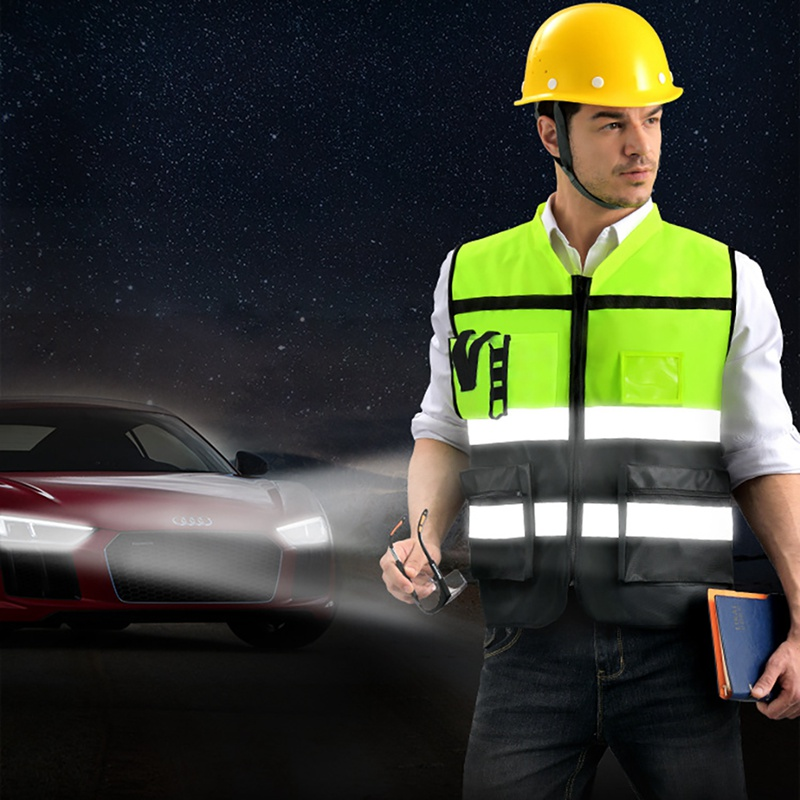 >Running Cycling Construction Site Outer Wear Reflective Vest Outdoor Protector <font><b>Tank</b></font> <font><b>Top</b></font> <font><b>High</b></font> Visibility Multi Pocket Safety Gear