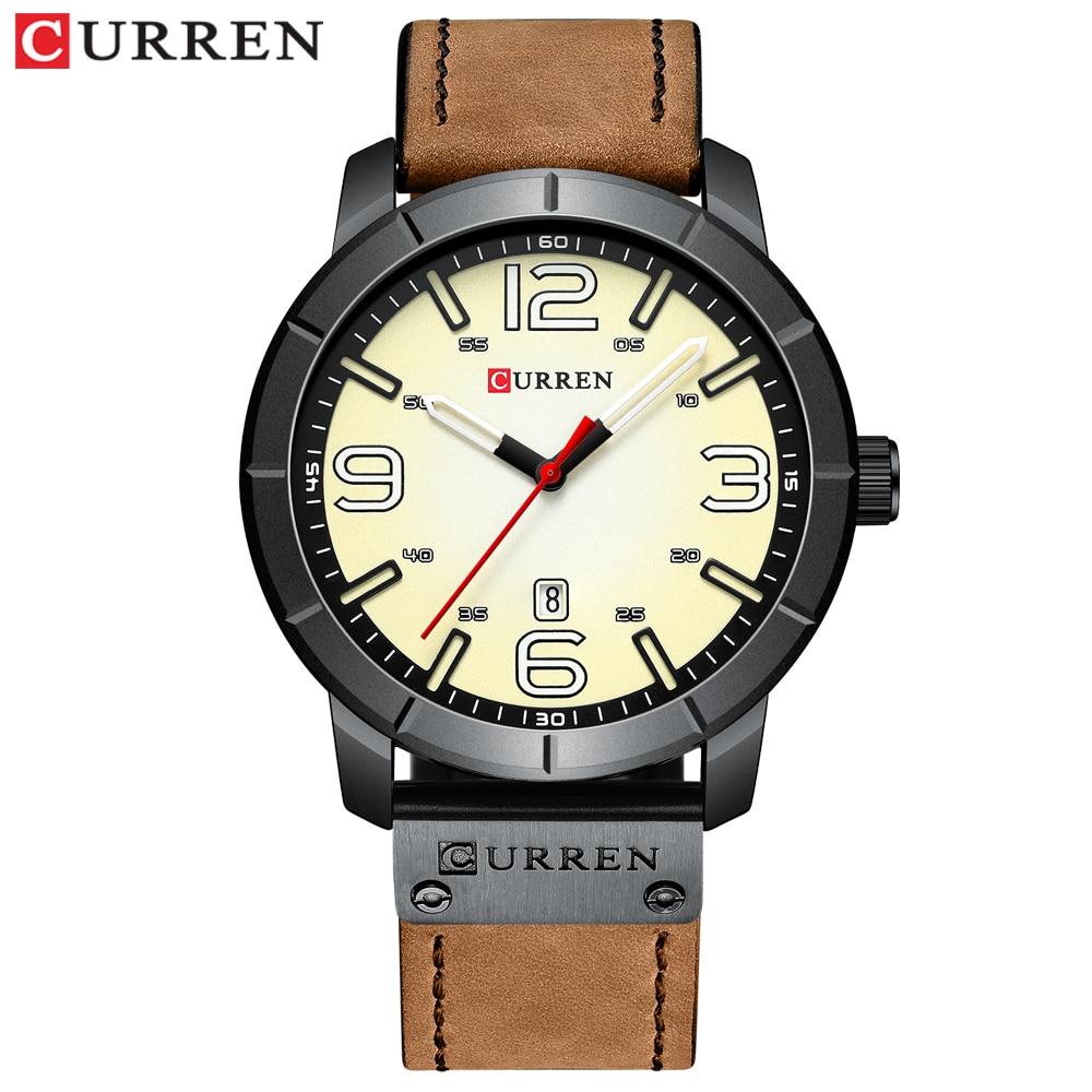 Men Watch 2019 CURREN Men's Quartz Wristwatches Male Clock Top Brand Luxury Reloj Hombres Leather Wrist Watches with Calendar