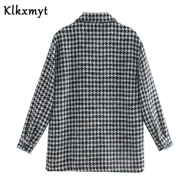 Klkxmyt-veste en Tweed pied-de-poule pour femme, manteau en Tweed à la mode, Vintage, manches longues, poches, hauts chics, 2020 3