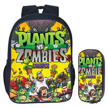 16 inch Plants VS Zombie Backpack for Teenage Girls Boys Book Bag Travel Bag Children School Backpacks Pencil Bag Sets(China)