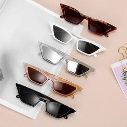 Fashion Women Vintage Cat Eye Sunglasses Small Frame UV400 Sun Shades Glasses Street Eyewear Luxury Trending Sunglasses