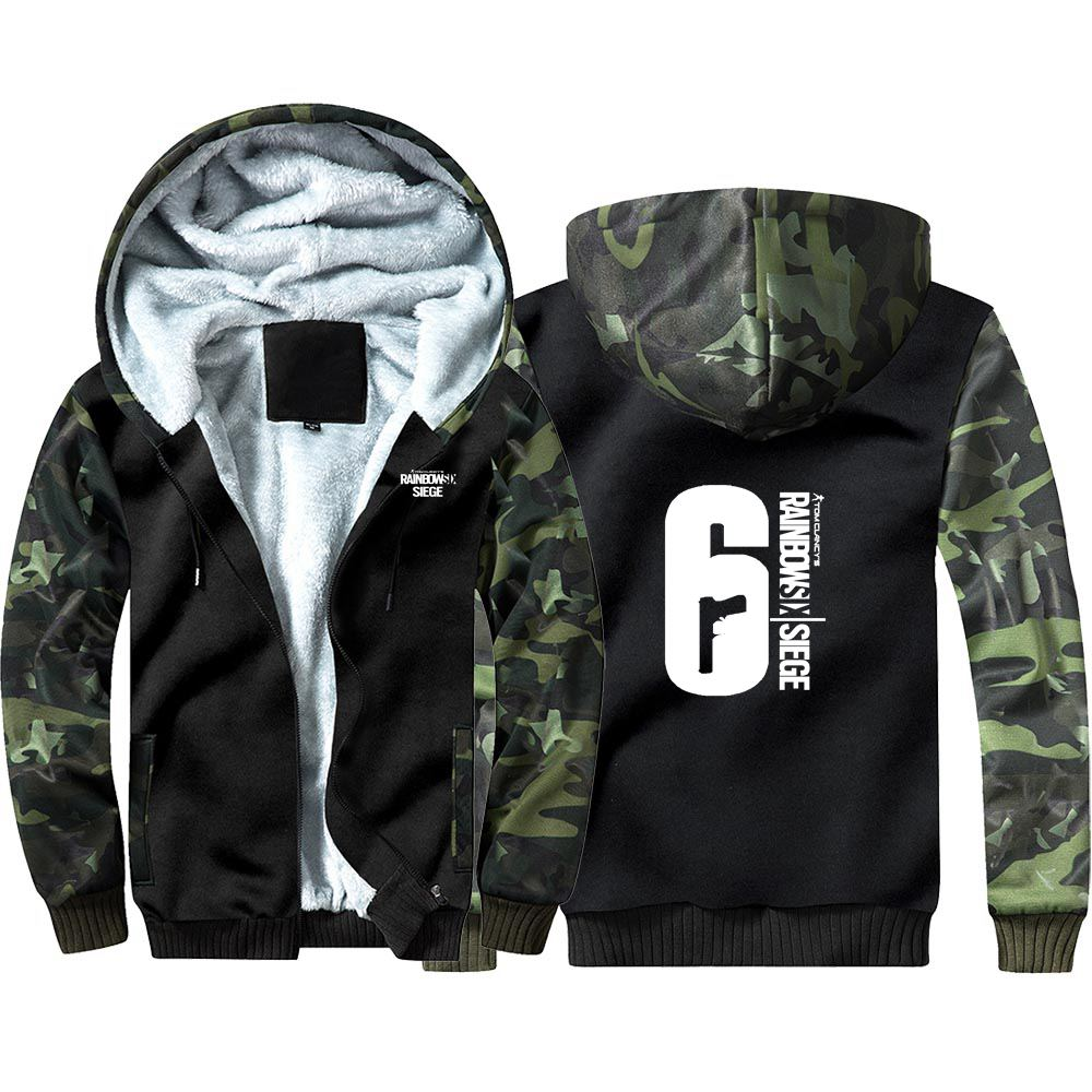 Rainbow Six Siege Camouflage Hoodie Sweatshirts Winter Thicken Hooded Coat Cosplay Costume Warm Men Women Clothing