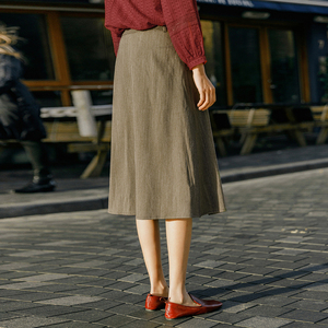 Image 2 - INMAN 2020 Spring New Arrival Literary Retro Single breasted A line long Umbrella Skirt
