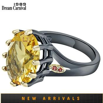 DreamCarnival1989 Big Golden Zircon Solitaire Engagement Rings for Women Delicate Fine Cut Dazzling Prong Party Jewelry WA11876G