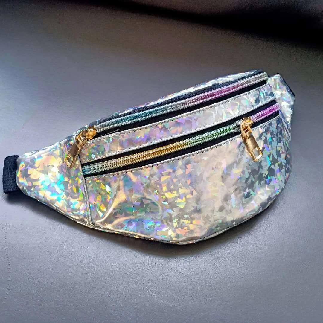 Fanny Packs Laser Crossbody Waist Bum Bag Shining Waist Packs Light Silver Rose Gold Purse Bag Lady Shoulders Sequin Waist Pack Letter Purse Mobile Phone Messenger Bag