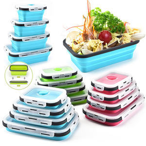 Lunch-Box Dinnerware Food-Container Meal Bento Folding Kitchen Collapsible Silicone Portable