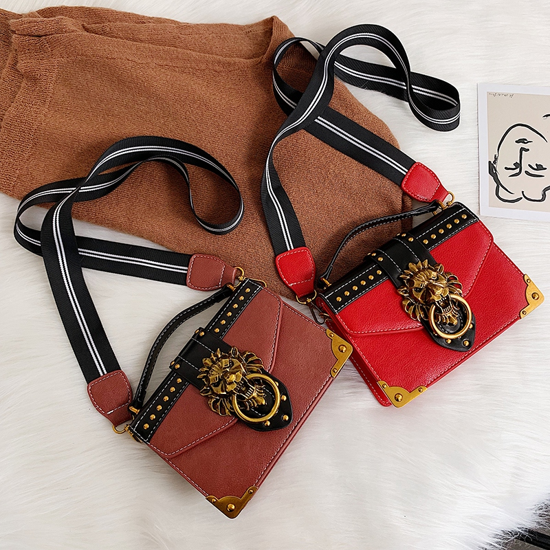 H66f06bcbea8844efb1c6fdbd259c6a76v - Female Fashion Handbags Popular Girls Crossbody Bags Totes Woman Metal Lion Head  Shoulder Purse Mini Square Messenger Bag