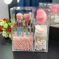 Acryl Make-Up Pinsel Halter mit Schubladen für Baumwolle Pads/Tupfer/Mixer Make-Up Pinsel Kit Organizer Kosmetik Lagerung Box