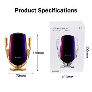 Image 5 - 10ワット自動クランプスマートセンサーチー車のワイヤレス充電器iphone × 華為xiaomi赤外線誘導自動車電話ホルダースタンド