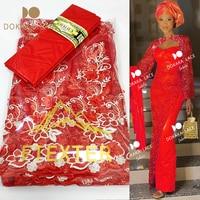 Tela de encaje africano, tejido Bazin Riche Gextczer y red de encaje estilo nigeriano bordado, Material de costura de tul 2,5 + 2,5 2021
