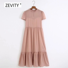 New 2020 women fashion agaric lace o neck dots flocked casual chiffon dress female hem pleat ruffles vestido chic dresses DS3842