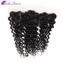 Aisha Queen Brazilian Deep Wave Lace Frontal Closure 10-20 Inch Swiss Lace Non Remy Human Hair Lace Frontal(China)