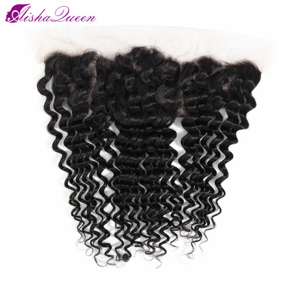 Aisha Queen Brazilian Deep Wave Lace Frontal Closure 10-20 Inch Swiss Lace Non Remy Human Hair Lace Frontal