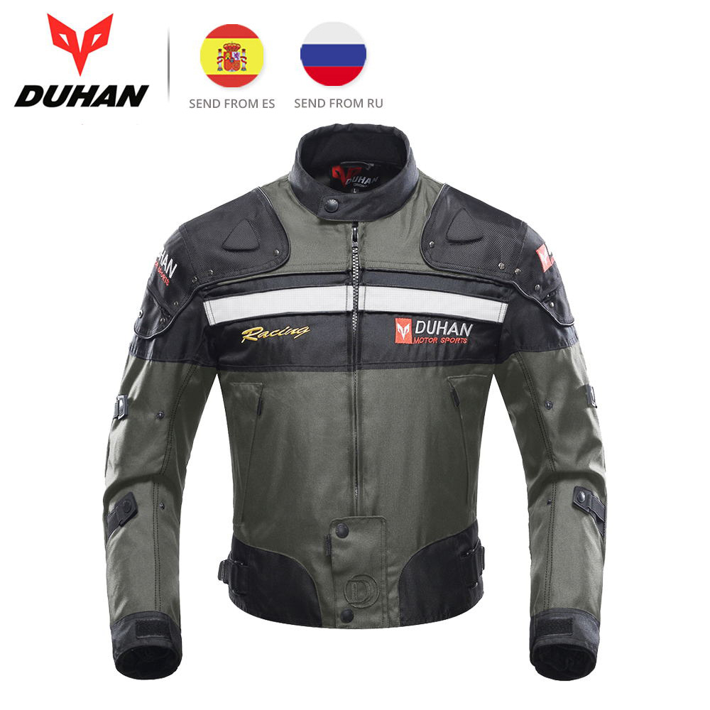 DUHAN Men Motorcycle Jacket Motocross Jacket Moto Windproof Cold-proof Clothing Motorbike Chaqueta Protector for Winter Autumn