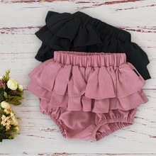 Baby Girls Ruffle Short Pant For Newborn Toddler Kids 2019 New Summer Diaper Cover Bloomers Shorts Large PP Pants Pink Beige 12M
