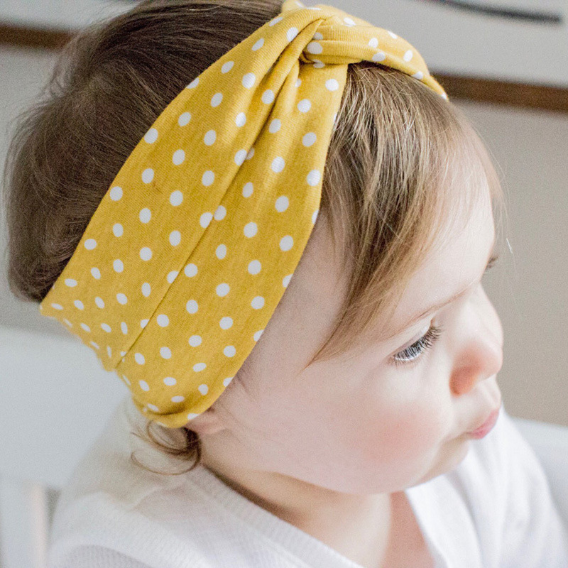 Spring Autumn Cute Polka Dot Printed Cross Headband Baby Headwear 9Colours Cotton Stretch Material Is Very Comfortable Keep Warm