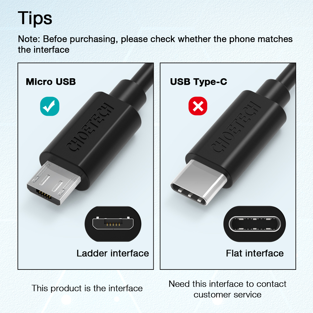 CHOETECH Micro USB Cable 2.4A Fast Charge USB Data Cable For Samsung - Mobile Phone Accessories and Parts - Photo 6