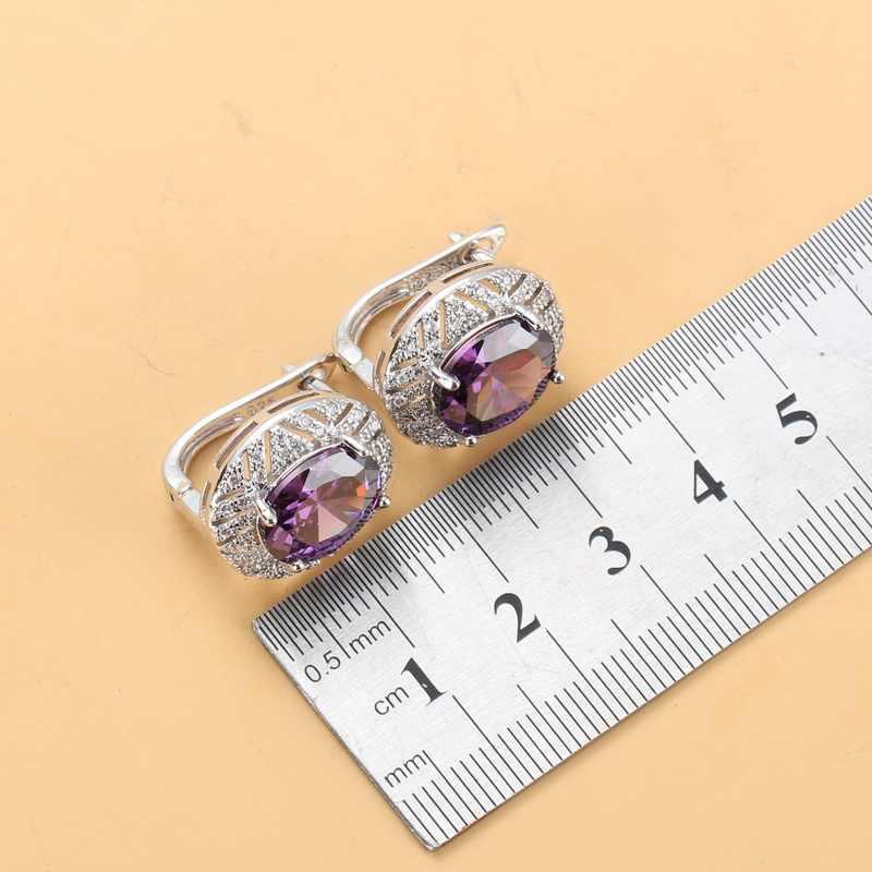 Высокое качество натуральный Австрийский Кристалл Романтический женский свадебный костюм 925 пробы Серебряные комплекты больших украшений для Женская Сережка серьги ожерелье и кольца для новобрачных