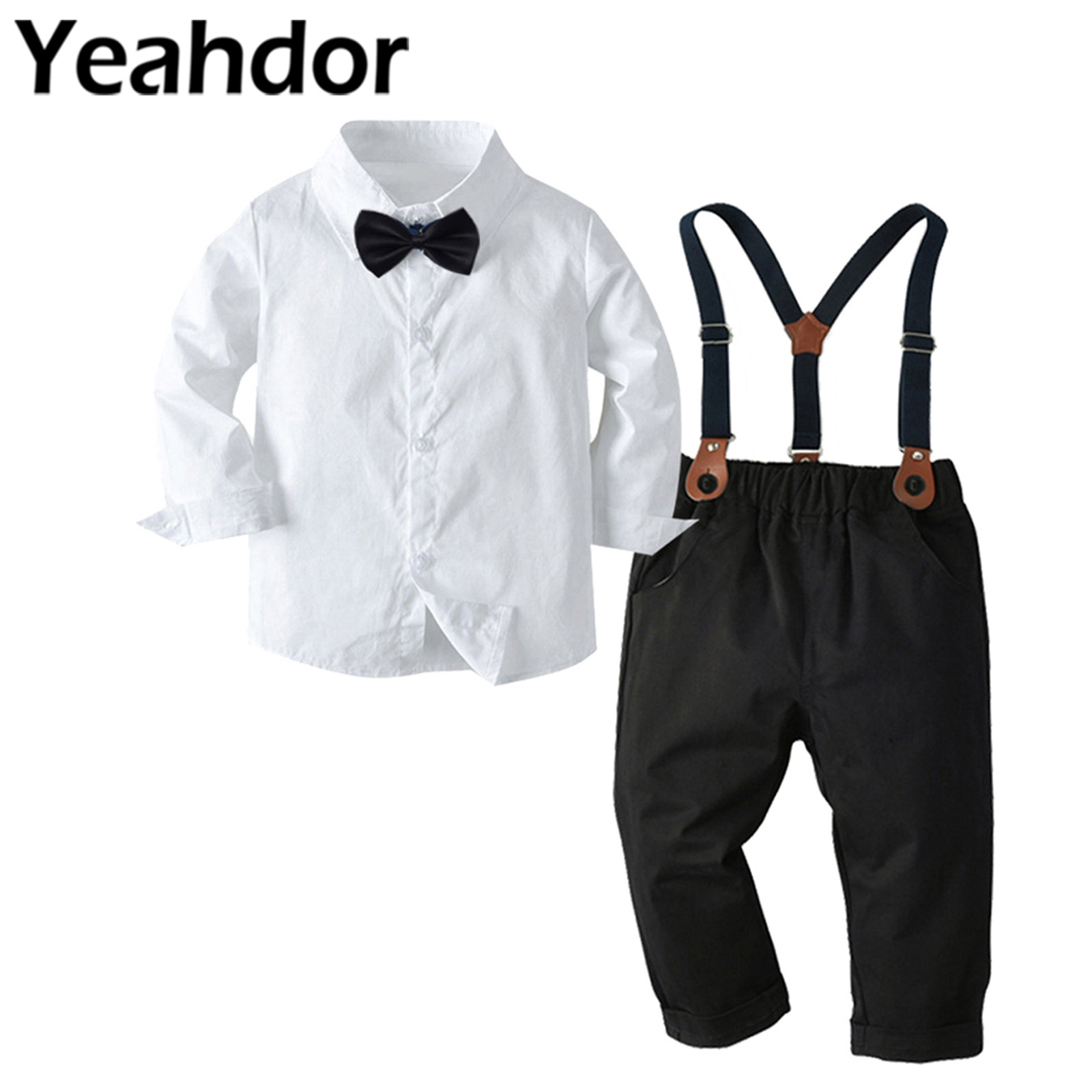 Boy's Wedding Suits Kids Clothing Sets Long Sleeve Shirts + Pants Children's Gentleman Outfit Birthday Party Costume Boys Suits