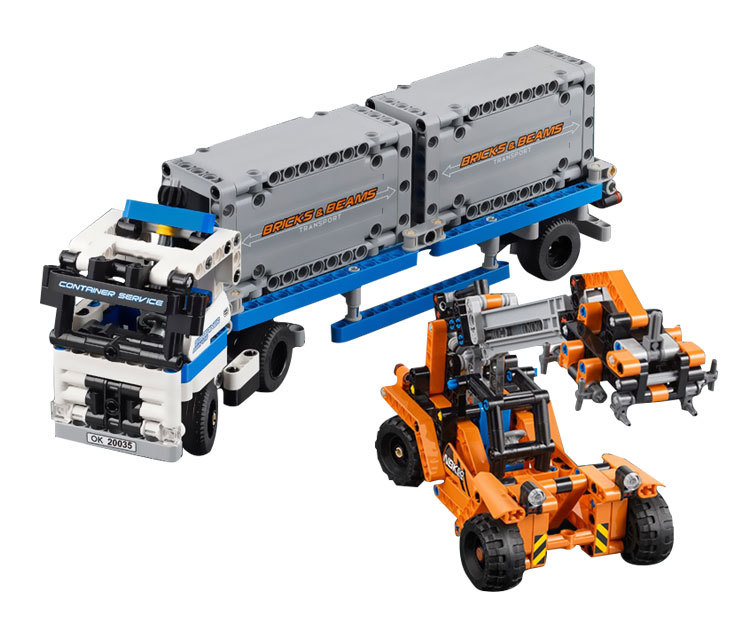 20035 Technic Series The Container Trucks and Loaders Set Model Building Blocks Bricks Educational KIds Toys Fit <font><b>legoing</b></font> <font><b>42062</b></font> image