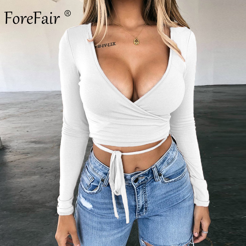 Forefair Sexy Long Sleeve Crop Top Woman V Neck Tops Autumn Winter 2019 Solid Basic Sashes Tied Waist Bandage T Shirt Women(China)