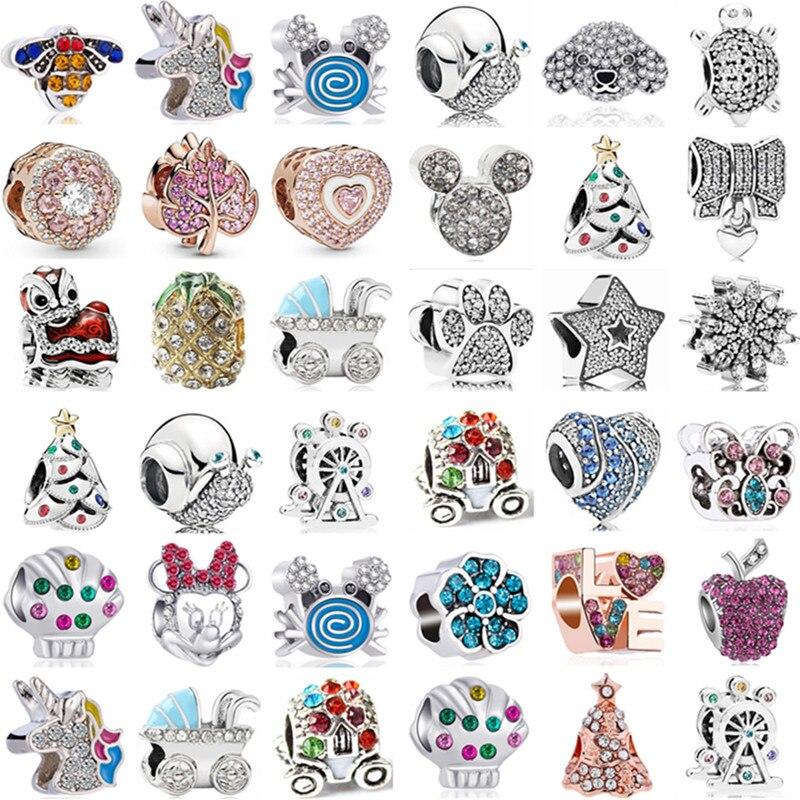 Fit Pandora Charms Bangles Crystal Unicorn Leaf Apple Mickey Beads Women 2019 DIY Bracelets for Women Girl Original Pulsera(China)