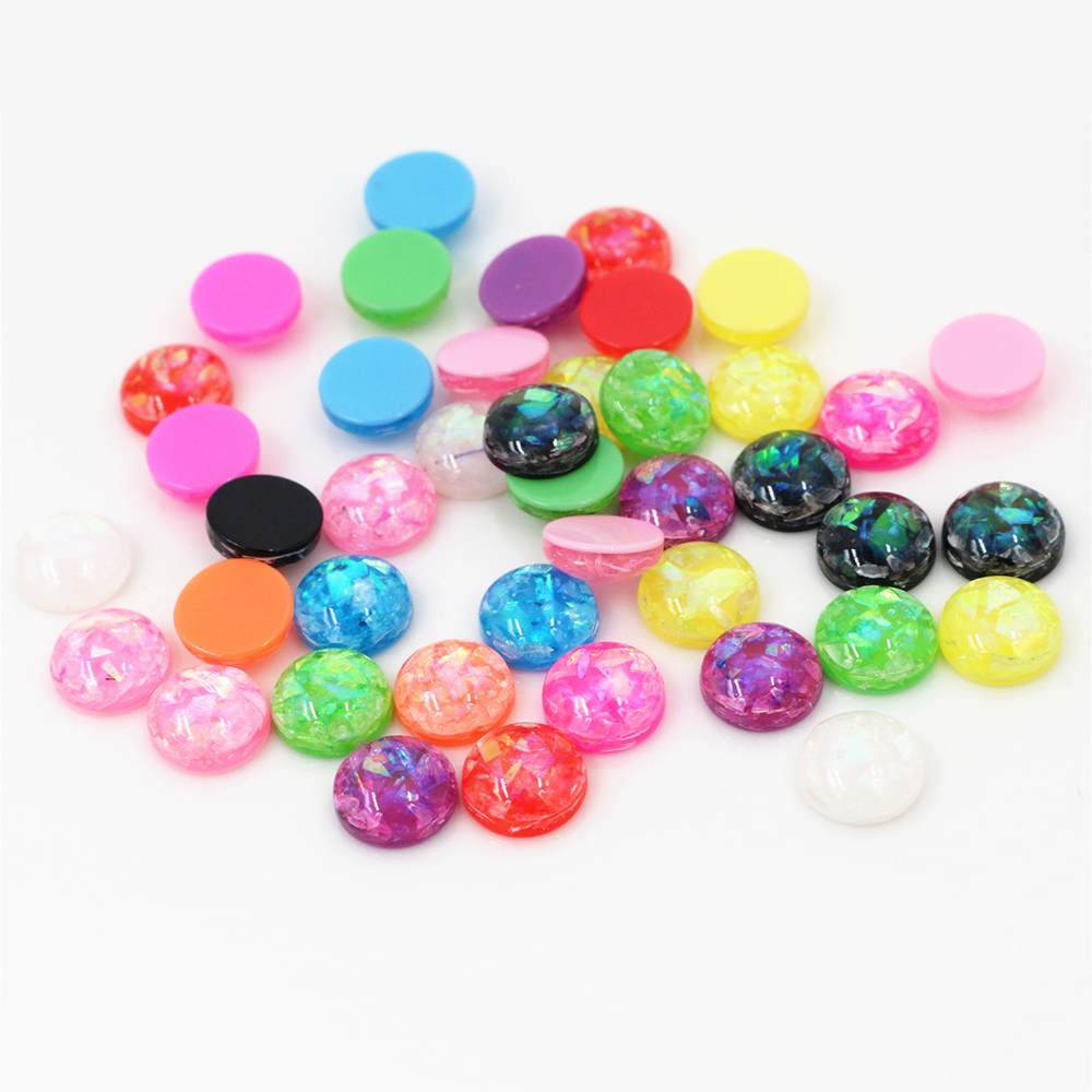 New Fashion 8mm 40pcs/Lot Mix Color Built-in Metal Foil Flat Back Resin Cabochons Cameo V7-02