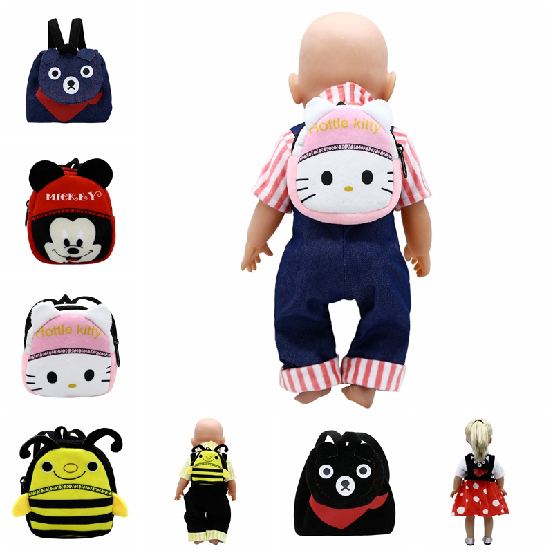 Born Doll Accessories 7 Styles Cute Backpack Schoolbag For 43cm Babies Baby Doll And 18 Inch Girl Doll Birthday Gift B-4