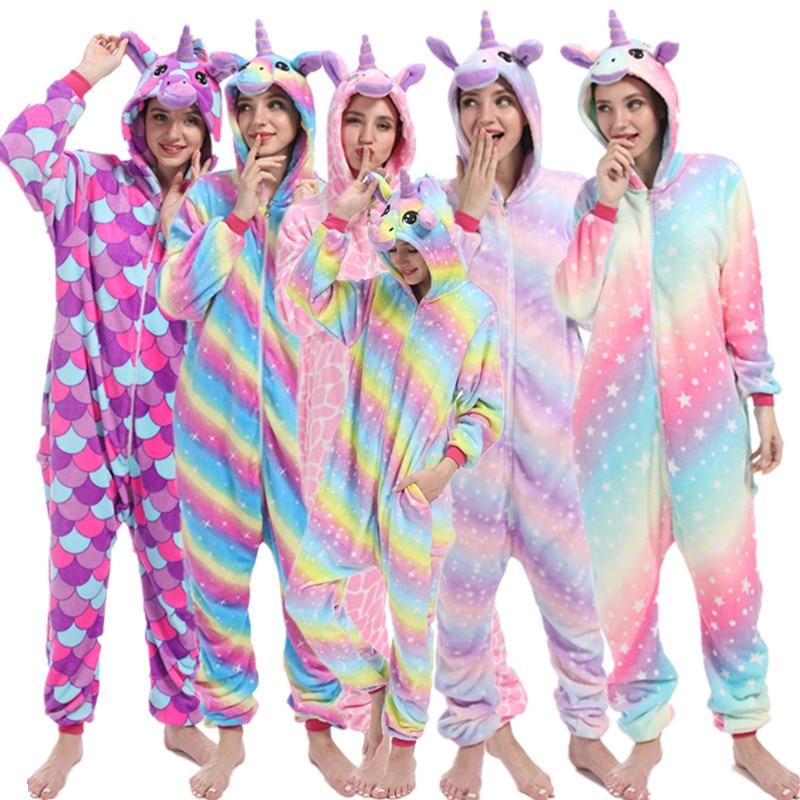 Women Kigurumi Unicorn Pajamas Sets Adult Animal Pijama For Women Winter Unicornio Nightie Pyjamas Sleepwear Hooded Home Wear