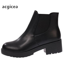 2020 new Hot style Fashion women boots Round head thick bottom PU leather waterp