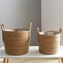 Straw Storage Basket Rattan Floor  Flower Pot Crafts Decoration Modern Home Livinroom Bedroom Shop Flower Basket Hanging