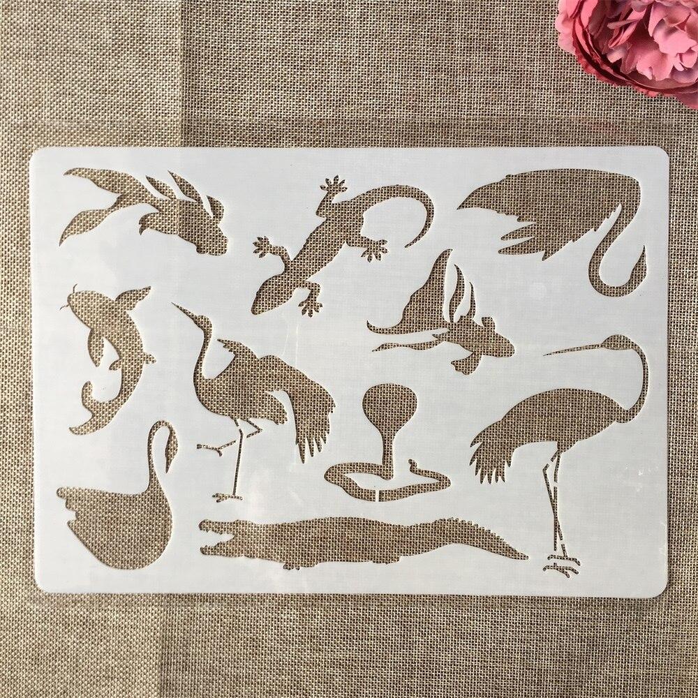 A4 29cm Swan Crane Gecko Crocodile DIY Layering Stencils Painting Scrapbook Coloring Embossing Album Decorative Paper Template