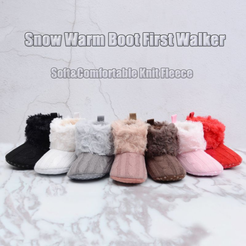 5 Color Baby Kid Boys Girls Knitted Fur Snow Boots Toddlers Soft And Cute Winter Warm Boots First Walkers For 0-18 Months