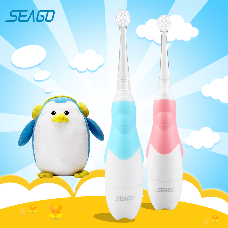Seago Children Electric Toothbrush Waterproof for 0-3 year Baby Safety Battery Teeth brush for Kids LED Light Best Gift SG513 image