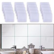 LETAOSk NEW 20pcs Flexible Stick-On Squares Mirror Sheet Self Adhesive Self Adhesive Decor Wall Tile 15x15cm Paste Home Decor