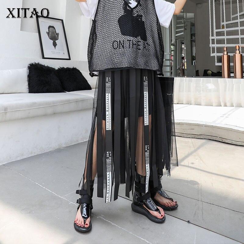 XITAO Mesh Hollow Out Print Letter Long Skirt Women Tape Elastic Waist Black Casual A-line Summer 2019 New Korea WLD1084