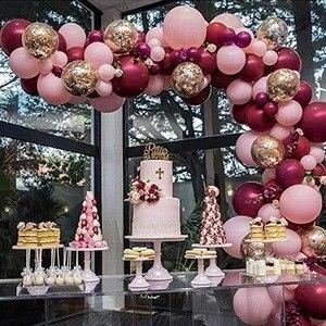100 Uds globos rosa globos con confeti dorado guirnalda arco 1st dorados fiesta Baby Shower Borgoña y oro decoraciones de la boda