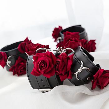 Adult Games Gothic Rose Handcuffs BDSM Bondge Male Handcuff Wrist Ankle Cuff Gay Fetish Slave Restraints Sex Toys For Woman Men 3