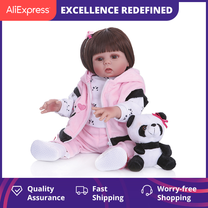 Npk 48Cm Full Body Silicone Doll Baby Straight Curly Hair Realistic Reborn Toddler Doll Baby Bath Toy For Children