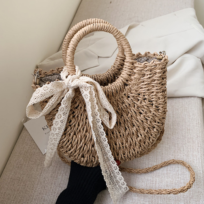 DikizFly Rattan Woven Straw Bag Women Weaving Summer Beach Bags Handmade Half Round Crossbody Bags Girls Small Top Handle Totes