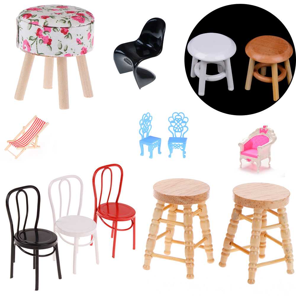 Mini Sofa Stool Chair Furniture Model Toys For Doll House Decoration 1/12 Simulation Dollhouse Miniature Accessories