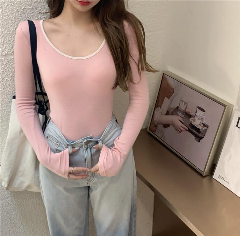 3 colors autumn korean style u neck womans tops color patchwork slim long Sleeve t-shirt Womens Tees shirt femme (R99359) 2